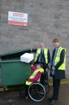 Anne getting involved in the recycling campaign